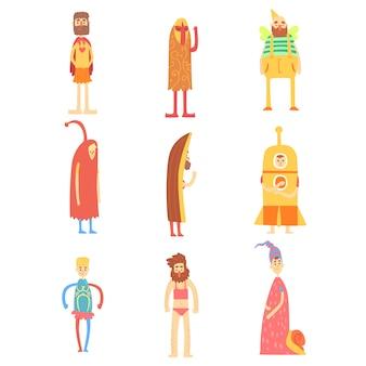 Набор красочных символов иллюстрации на белом фоне