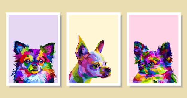 ポップアートスタイルのカラフルなチワワ犬のセット