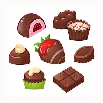 Набор красочных шоколадных десертов и конфет из коробок на день святого валентина