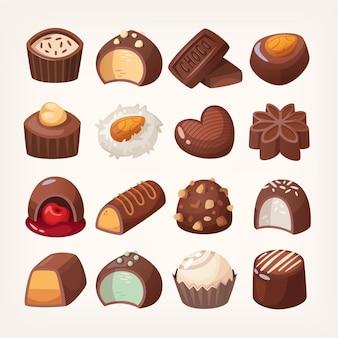 화려한 초콜릿 디저트와 사탕 세트