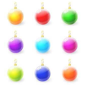 カラフルなクリスマスボールのセット