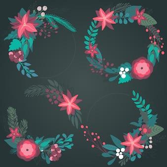 Набор красочных рождественских цветочных венков с зимними цветами веток ягод