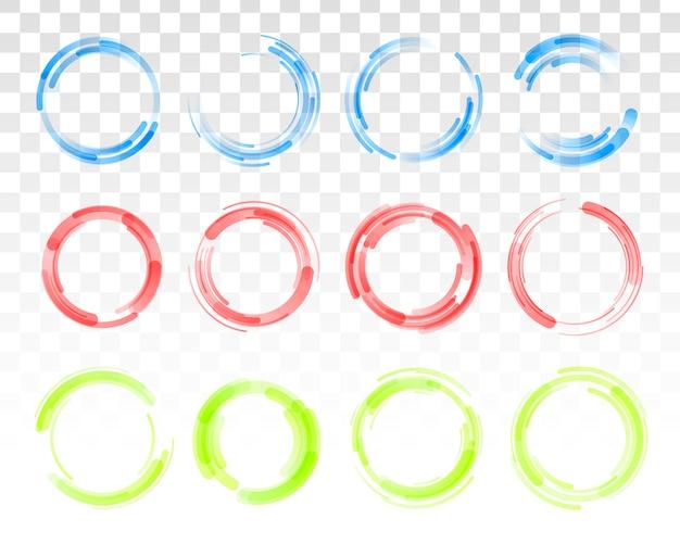 투명 한 배경에 고립 된 다채로운 원의 집합입니다. 원형 컬러 라인.