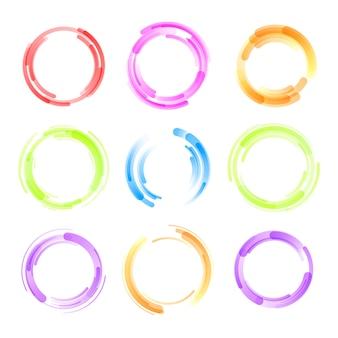 다채로운 원 흰색 배경에 고립의 집합입니다. 원형 컬러 라인.