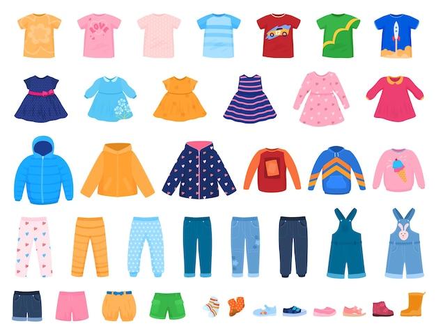 Набор красочной одежды для детей, платья, брюки, шепоты, свитера, футболки, векторная иллюстрация