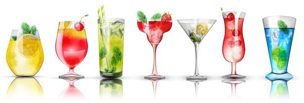 Набор красочных коктейлей. яркие цвета. цитрусовые и ягодные начинки