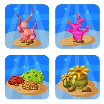 Набор красочных кораллов и водорослей. естественный подводный мир. Premium векторы