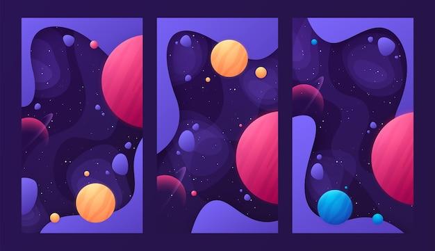 宇宙ベクトルイラストのトピックに関するカラフルなカバーデザインのセット