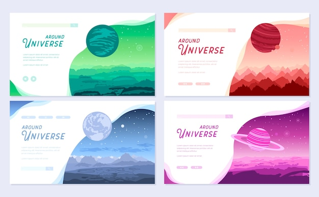 Набор красочных обложек с различными планетами и концепцией заголовка вокруг вселенной.
