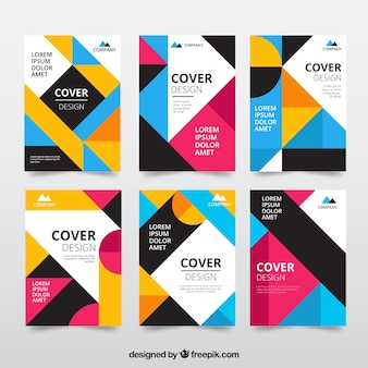 Set of colorful covers with geometric shapes