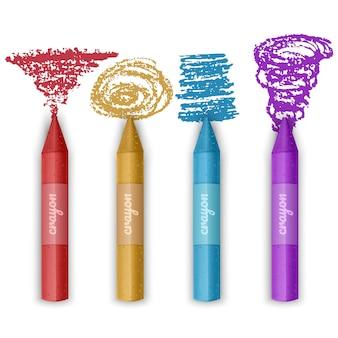 다채로운 크레용의 집합입니다. 왁스 연필 컬렉션. 절연.