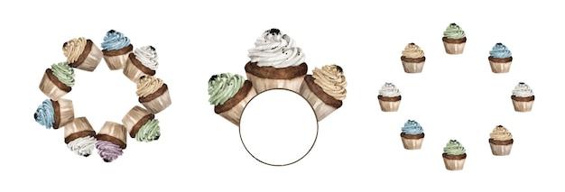 カラフルなカップケーキのセットは、丸いフレームをデザインします。水彩イラスト。
