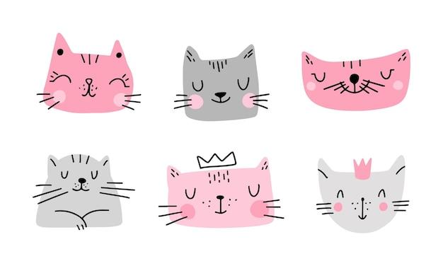 낙서 스타일에서 흰색 배경 벡터 일러스트 레이 션에 고립 된 다채로운 귀여운 고양이의 집합