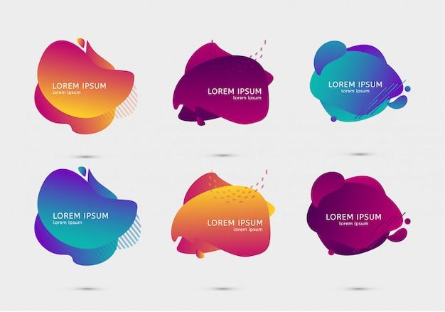 カラフルなデザインのグラデーションテンプレートのセット