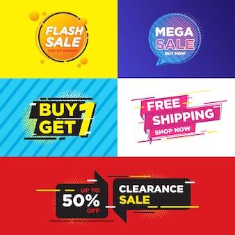 Набор красочных дизайнерских баннеров для продажи товаров в интернете