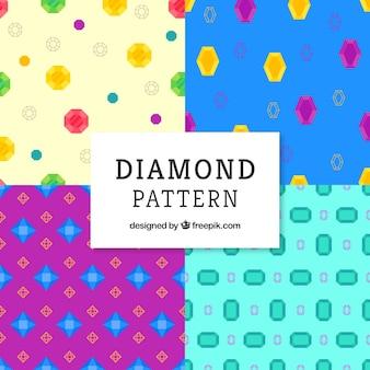 Набор красочных узоров алмазов