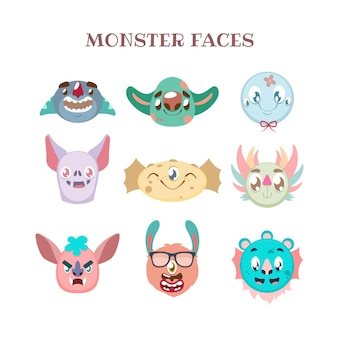 다채로운 다양한 괴물 초상화 세트