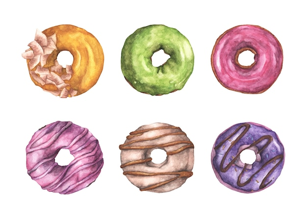 白地にカラフルなドーナツのセットです。上面図。水彩イラスト。