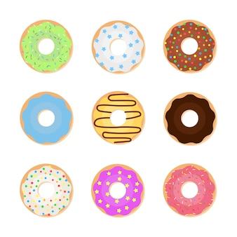 Набор красочных пончиков. векторная иллюстрация сладких пончиков