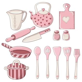 カラフルな落書きキッチンと道具のセット。台所用品、調理器具、キッチンツール。台所用品コレクション。たくさんのキッチンツール、調理器具、カトラリー。
