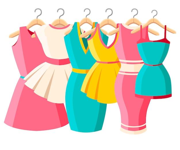 カラフルなドレスとサンドレスのセット。女性の夏のドレスのコレクション。ハンガーに服。白い背景の上の図