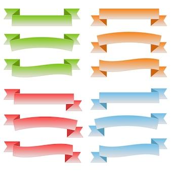 Набор красочных пустых лент и баннеров. готовы для вашего текста или дизайна. отдельные векторные иллюстрации.
