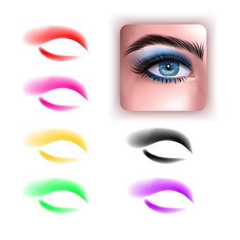 Набор красочных теней и реалистичных глаз