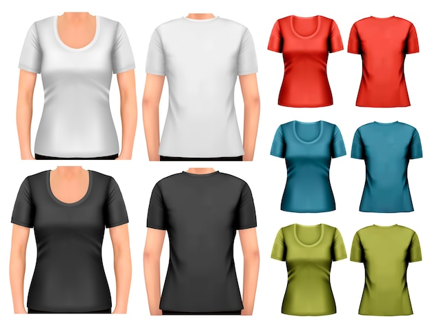 Набор красочных женских футболок.