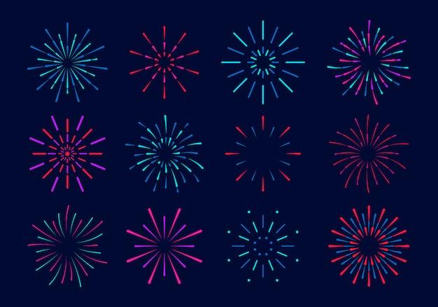 화려한 불꽃 놀이의 집합입니다. 별과 불꽃이있는 불꽃 놀이의 축제 폭발. 파티, 축제, 축제, 다색 하늘, 폭발 별