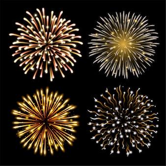 Набор красочных фейерверков. набор праздничного узорного салюта, разрывающегося в различных формах на черном фоне.