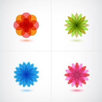 Набор красочных цветочных иконок изолированы