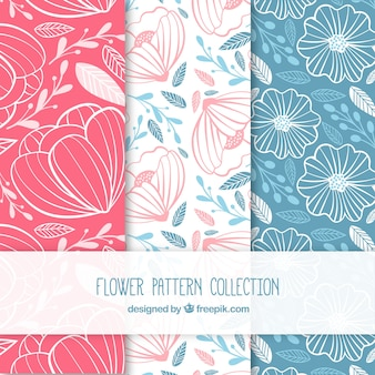 Set of colorful flower patterns in hand drawn style