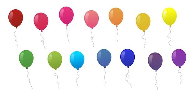 Набор красочных летающих воздушных шаров