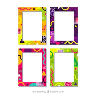 Set of colorful frames in flat style