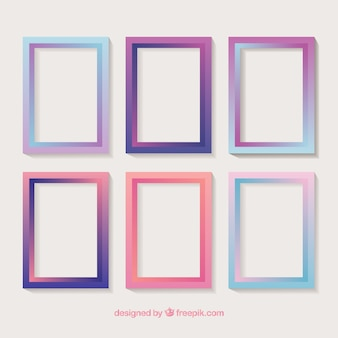 Set of colorful frames in gradient style