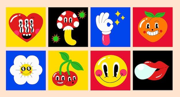 빈티지 복고 로고와 브랜딩을 위한 다채로운 재미있는 귀여운 만화 캐릭터 세트. 만화 스타일입니다. 평면 디자인. 격리 된 벡터 일러스트입니다.