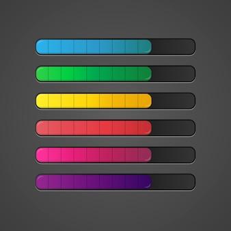 Набор красочных ползунков на панели игровых ресурсов. иллюстрирование веб-интерфейса.