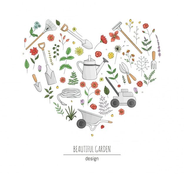 화려한 정원 도구, 꽃, 허브, 식물의 집합입니다. 삽, 삽, 물을 수, 호스, 핸드 포크, 심장 모양의 액자 컬렉션. 만화 스타일의 일러스트 레이 션. 원예 테마 개념입니다.