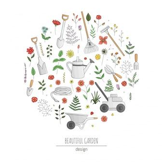 화려한 정원 도구, 꽃, 허브, 식물의 집합입니다. 삽, 물을 수, 호스, 흙 손, 손 포크, 원형에서 프레임의 컬렉션입니다. 만화 스타일의 일러스트 레이 션. 원예 테마 개념입니다.