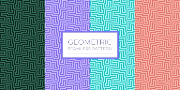 繰り返しストリップとカラフルな幾何学的なシームレスパターンのセット。壁紙、テキスタイル、ファブリック、包装紙、背景の光学効果を持つ抽象的なテクスチャ。ベクトルイラスト。 eps 10