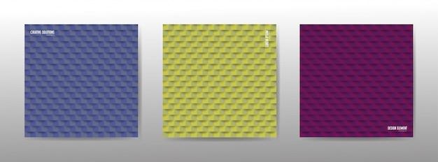 カラフルな幾何学的なシームレスパターンのセット。ボリュームが押し出されたテクスチャ。