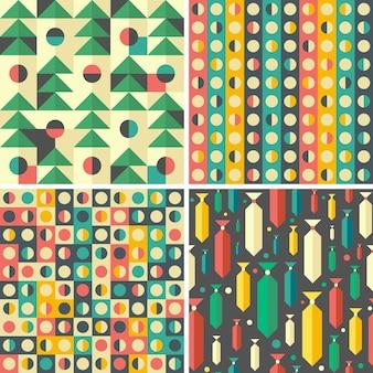 カラフルな幾何学模様のシームレスパターンのセット。
