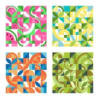 バウハウススタイルのフルーツとカラフルな幾何学的なテクスチャのセットです。スイカ、レモン、オレンジ、キウイと抽象的なベクトルの背景。シームレスな繰り返しパターン。モザイクレトロな壁紙。