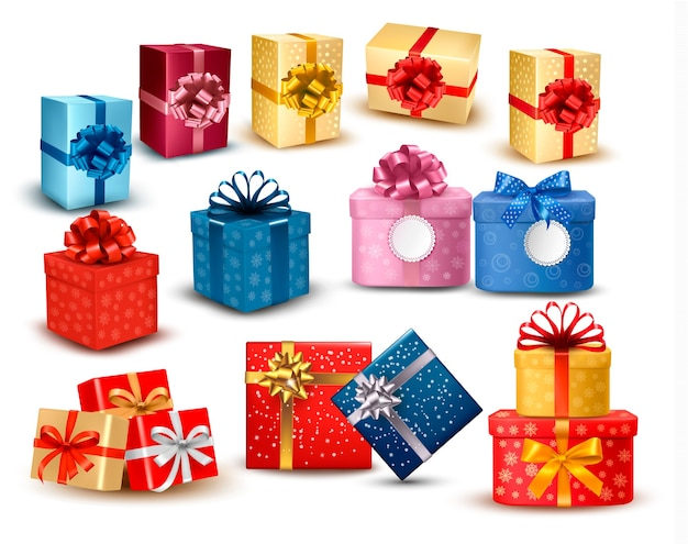 활과 리본으로 다채로운 선물 상자 세트