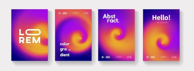 カラフルなグラデーションの背景ベクトルデザインのセットです。現代の抽象的なポスターコレクション。