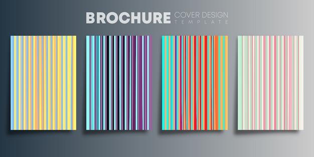 背景、チラシ、ポスター、パンフレット、タイポグラフィ、またはその他の印刷製品のラインデザインのカラフルなグラデーションカバーのセット。ベクトルイラスト
