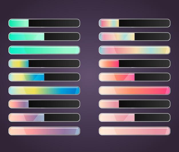 웹 및 모바일 게임 리소스 표시줄 슬라이더에 대한 다채로운 그라데이션 세트