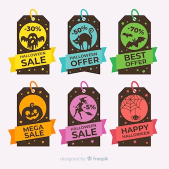 Set of colorful halloween sale labels