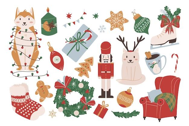 Набор красочных рисованной элементов рождества и нового года