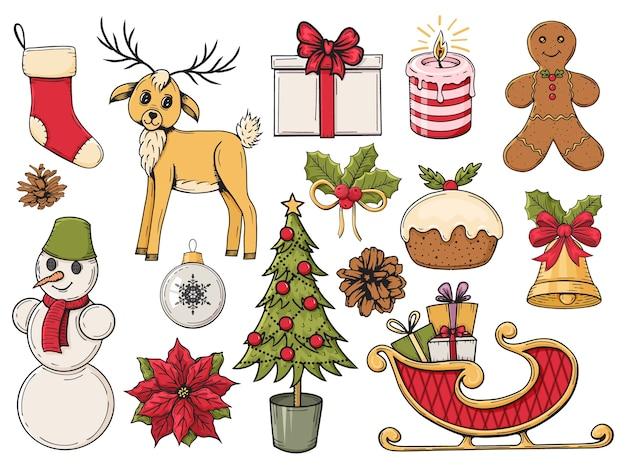 다채로운 손으로 그린 크리스마스 요소 집합입니다. 겨울 개체. 삽화.